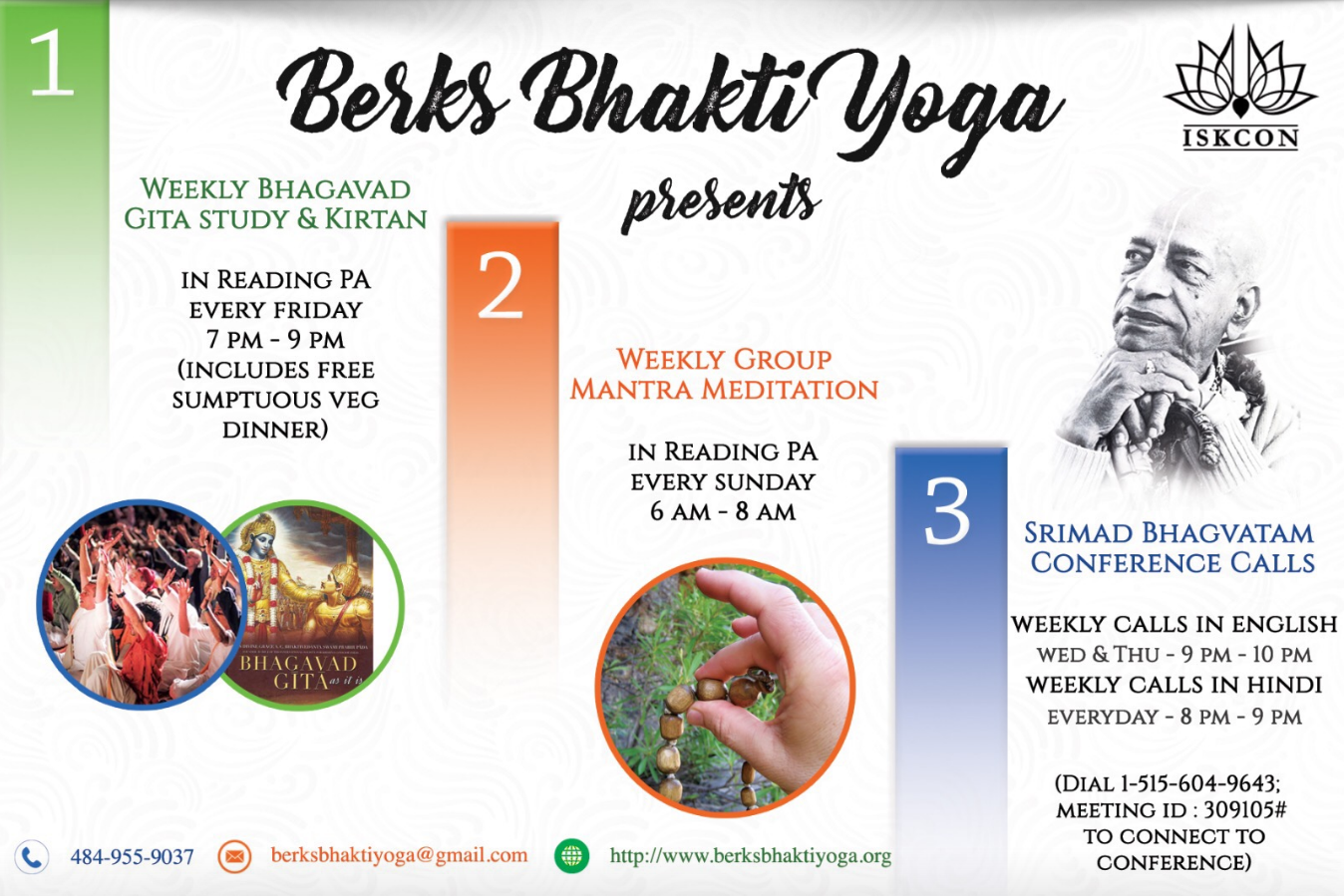 Weekly Spiritual Program (Kirtan, Bhagvat Gita Study, Mantra Meditation) in Reading @7pm